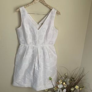 J. Crew White Jacquard party fit & flare dress 6